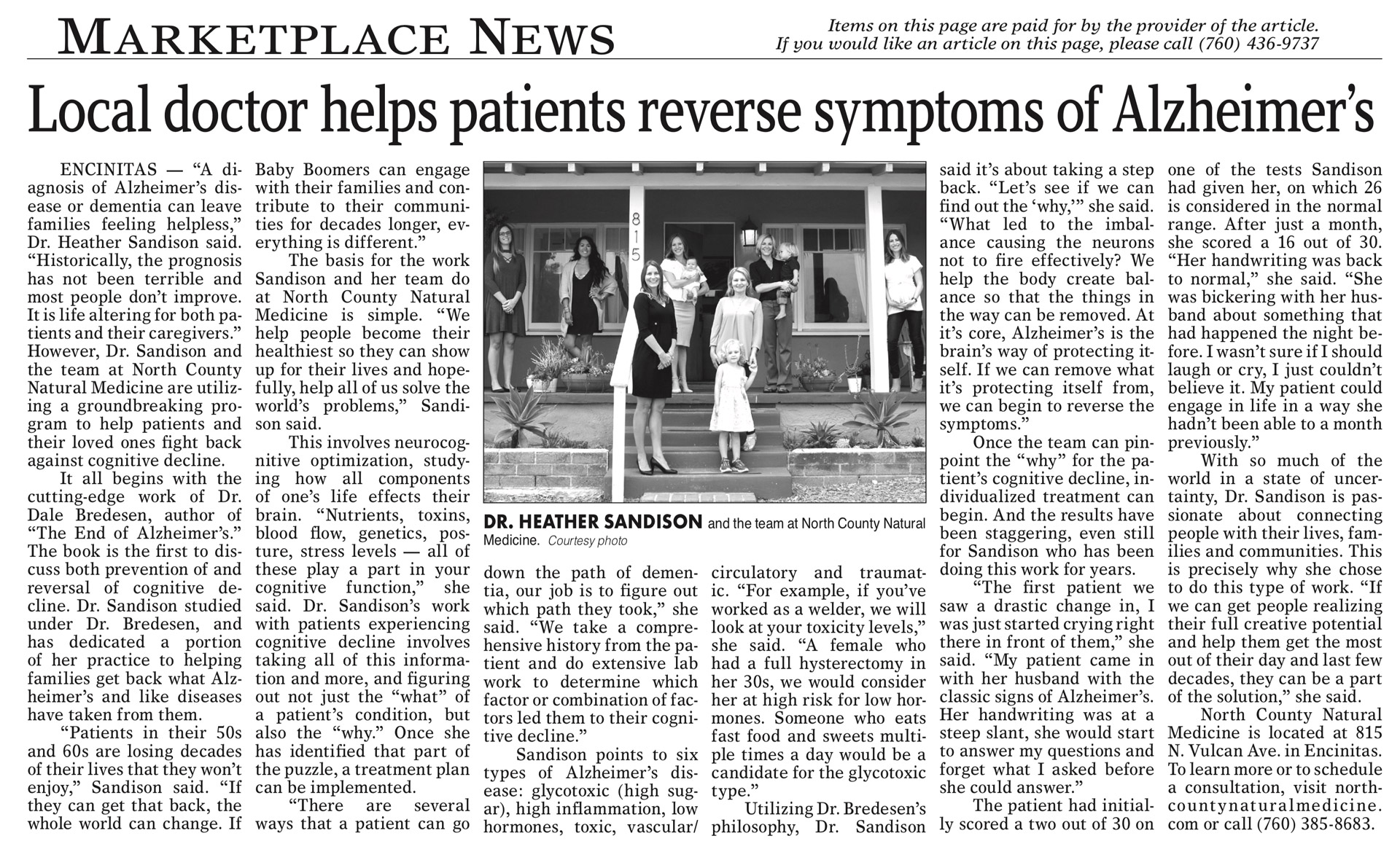 Dr Heather Sandison Bredesen Protocol for Alzheimer's Coast News article