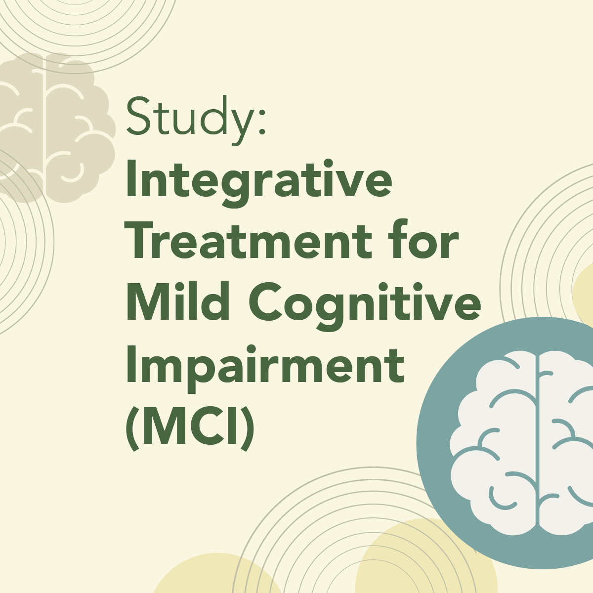 Study Integrative Treatment for Mild Cognitive Impairment MCI